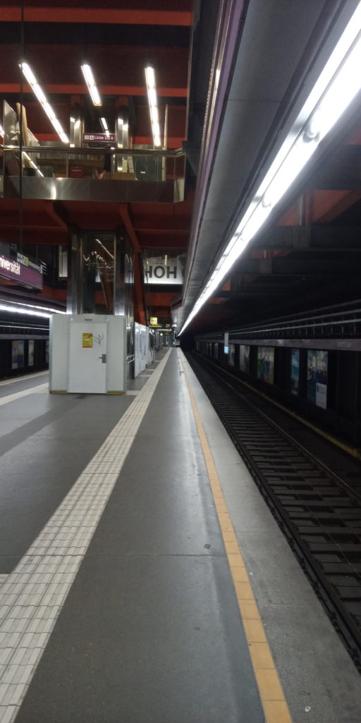 Vienna as a ghost town - the Vienna underground line U2 looks like a temporal lost place Corona Virus Pandemic in Vienna, Austria in 2020